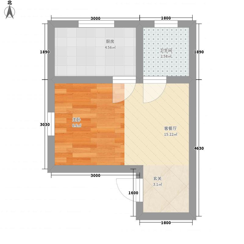 富润阳光0室1厅1卫1厨33.00㎡户型图