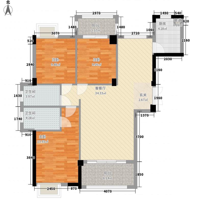 悦��126.00㎡2/3#楼01、06单元户型3室2厅2卫1厨