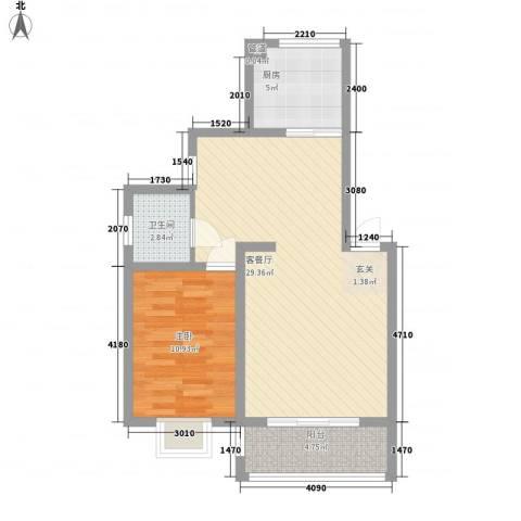 薄荷花苑二期红域明珠1室1厅1卫1厨76.00㎡户型图