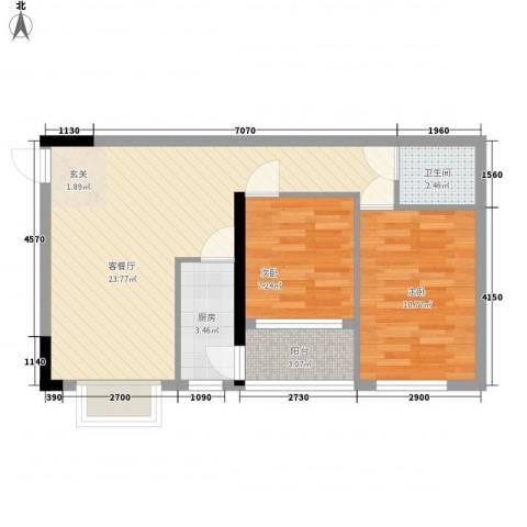 铁湖书院2室1厅1卫1厨71.00㎡户型图
