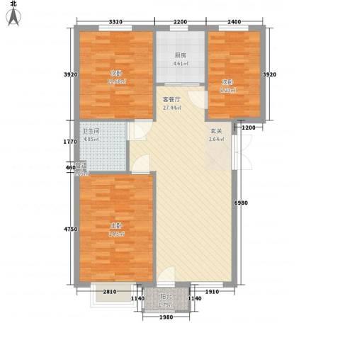 绿地英湖印象3室1厅1卫1厨72.14㎡户型图