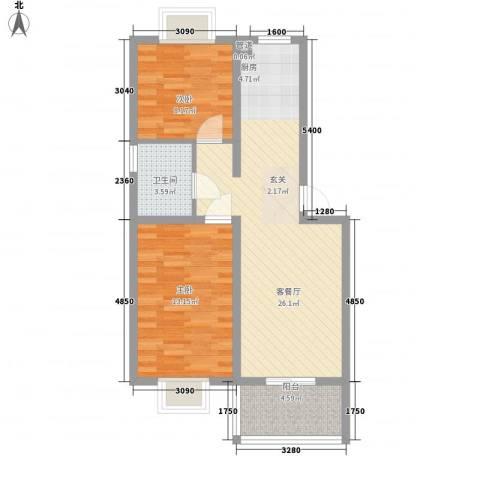 薄荷花苑二期红域明珠2室1厅1卫0厨80.00㎡户型图