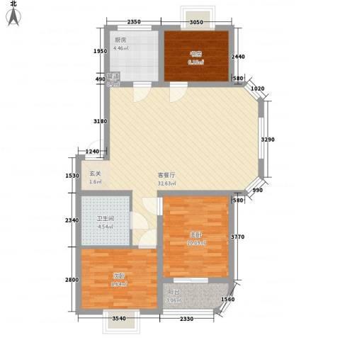 薄荷花苑二期红域明珠3室1厅1卫1厨100.00㎡户型图