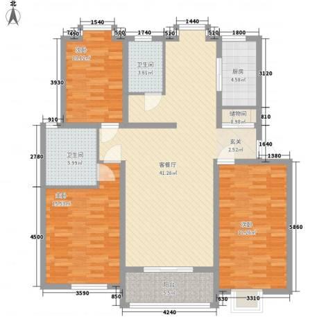薄荷花苑二期红域明珠3室1厅2卫1厨149.00㎡户型图