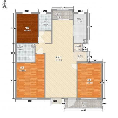 绿地英湖印象3室1厅2卫1厨152.00㎡户型图