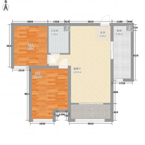 东柳坊2室1厅1卫1厨86.00㎡户型图