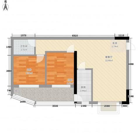铁湖书院2室1厅1卫1厨67.00㎡户型图