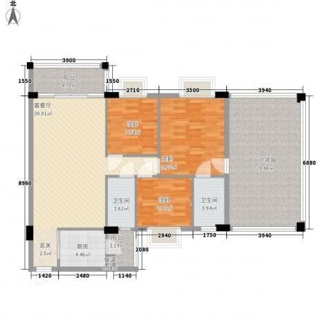 金朗华庭3室1厅2卫1厨114.02㎡户型图