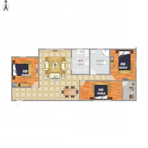 嘉华东花园7381913室1厅1卫1厨107.00㎡户型图