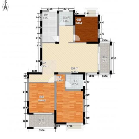 香槟花园3室1厅2卫1厨141.00㎡户型图