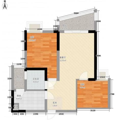 山河秀景2室1厅1卫1厨81.00㎡户型图
