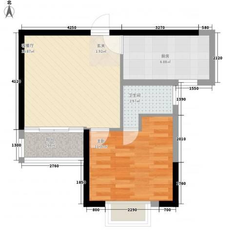 盈丰商住中心1室1厅1卫1厨45.76㎡户型图