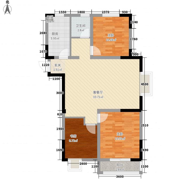 茗香苑112.18㎡2#楼E户型2室2厅1卫1厨