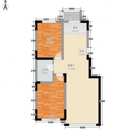 万盛中央一品2室1厅1卫0厨67.59㎡户型图