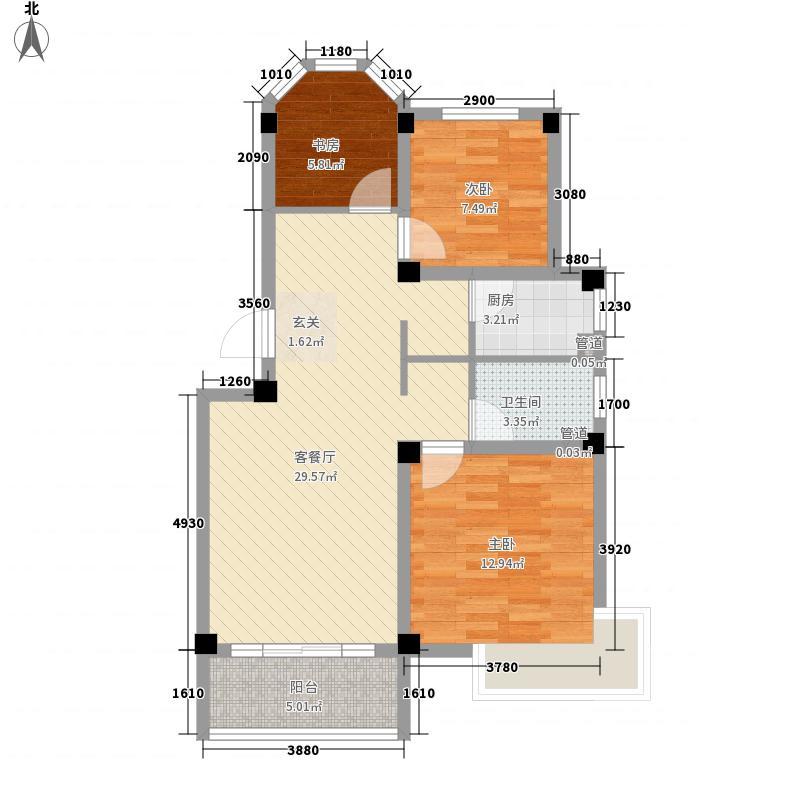 星海苑B户型3室2厅1卫1厨