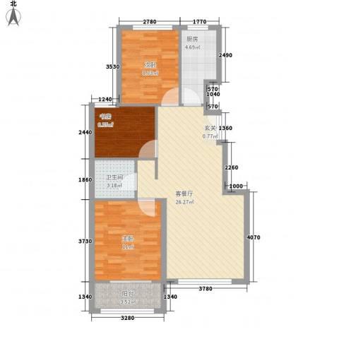 山景御园3室1厅1卫1厨90.00㎡户型图