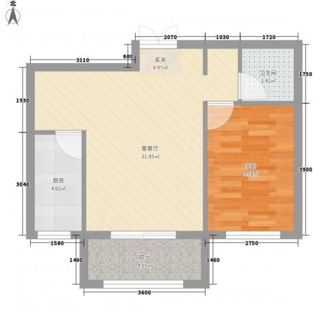 山景御园1室1厅1卫1厨60.00㎡户型图