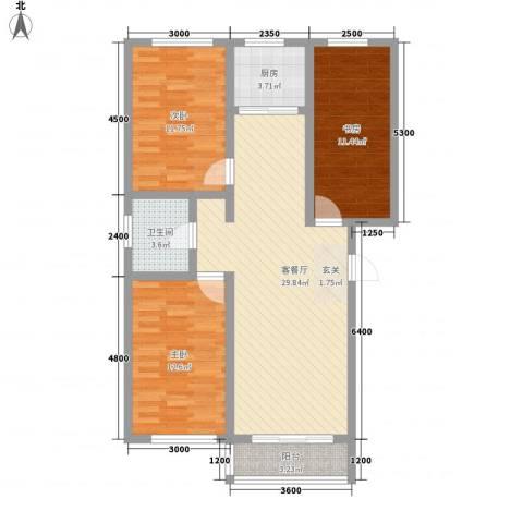 金澜湾3室1厅1卫1厨76.17㎡户型图