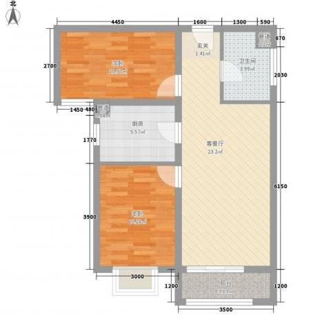 首创・伊林郡2室1厅1卫1厨56.81㎡户型图