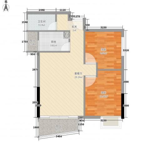 加勒比湾2室1厅1卫1厨81.00㎡户型图