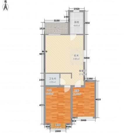 国泉城2室1厅1卫1厨64.93㎡户型图