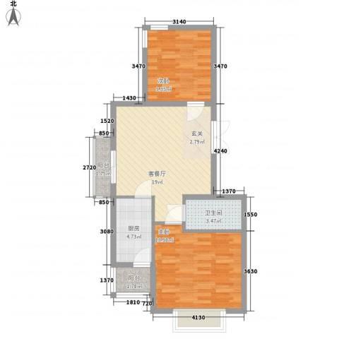 国泉城2室1厅1卫1厨78.00㎡户型图