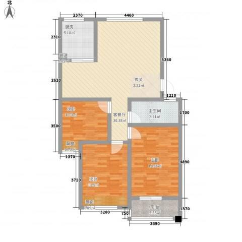 缇香美地3室1厅1卫1厨115.00㎡户型图