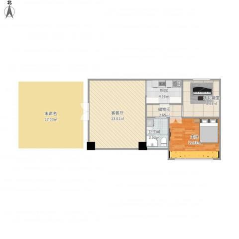 新加坡花园城1室1厅1卫1厨75.00㎡户型图