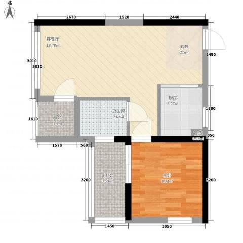 新际首座1室1厅1卫1厨38.33㎡户型图