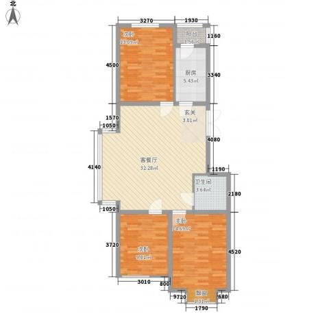 国泉城3室1厅1卫1厨115.00㎡户型图