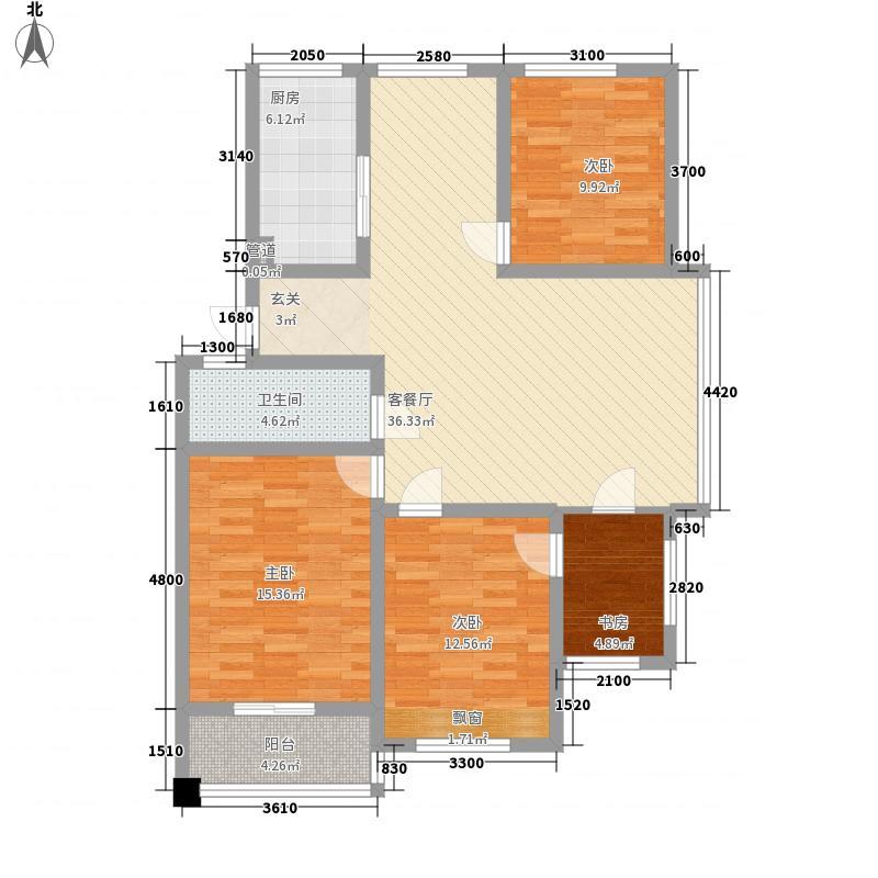 缇香美地135.00㎡E户型4室2厅1卫1厨