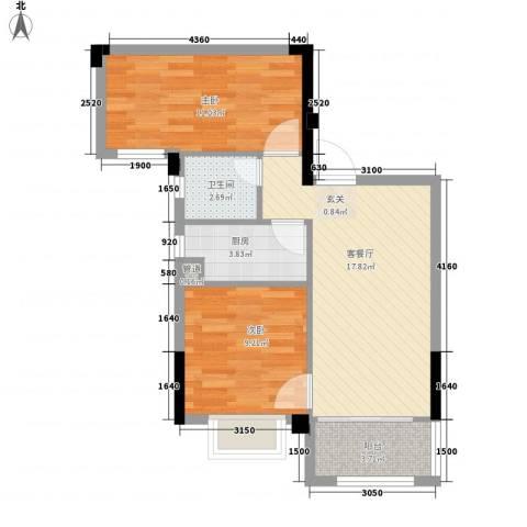 简爱社区2室1厅1卫1厨63.00㎡户型图