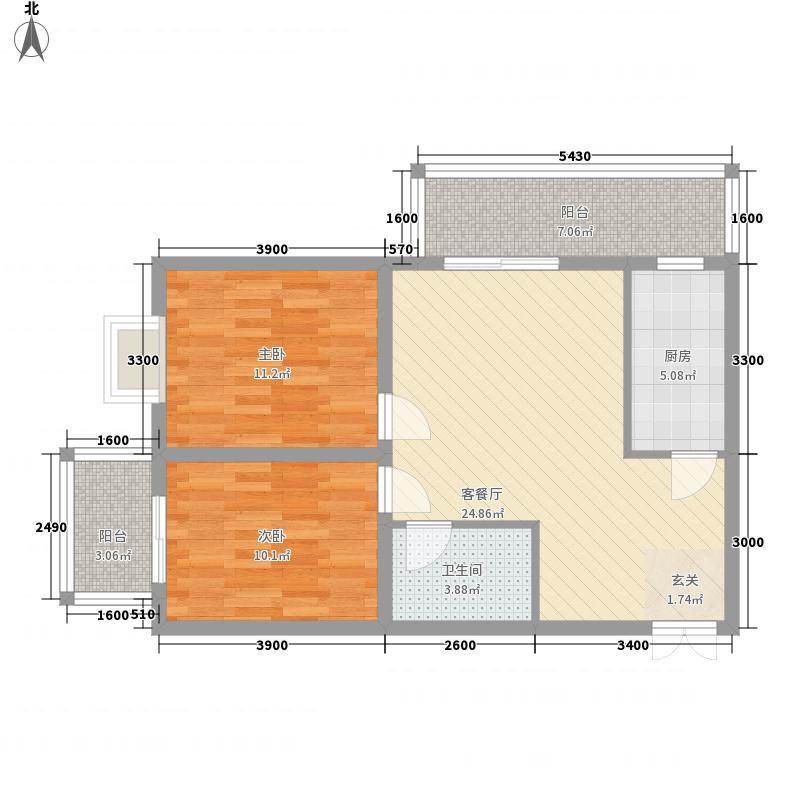 鸿瑞佳园A4户型2室2厅1卫1厨
