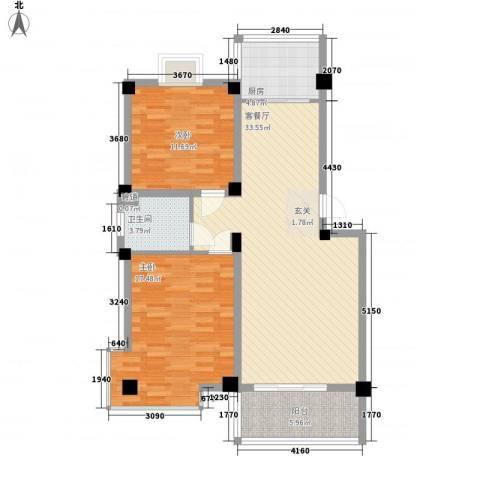 鸿达尚城时代2室1厅1卫1厨110.00㎡户型图