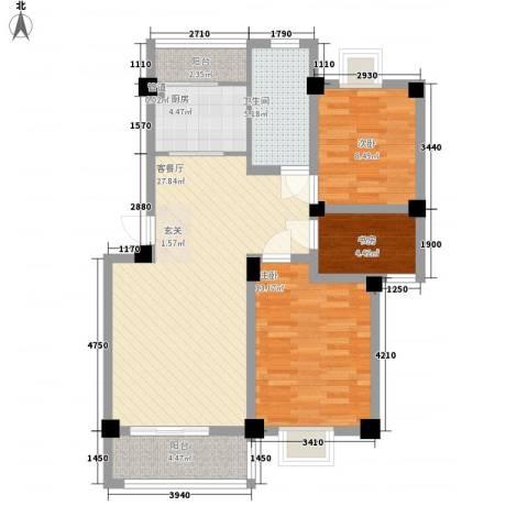 鸿达尚城时代3室1厅1卫1厨102.00㎡户型图