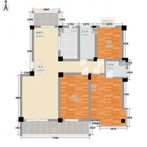 鸿达尚城时代3室1厅2卫1厨156.00㎡户型图