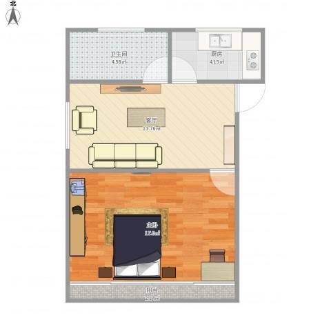 江桥三村七街坊621弄45--1111室1厅1卫1厨58.00㎡户型图