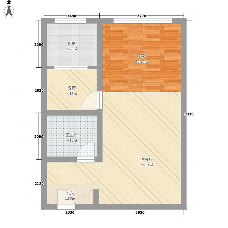 龙海明珠64.40㎡D户型1室1厅1卫