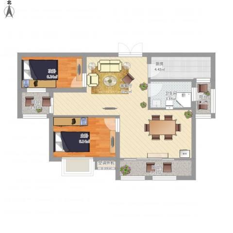 首钢首御2室1厅1卫1厨81.00㎡户型图
