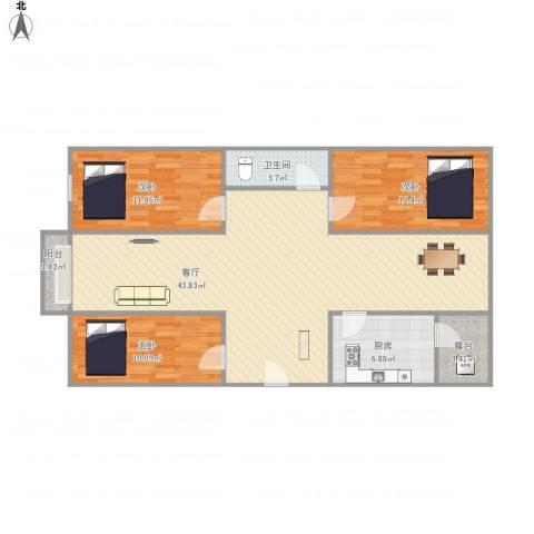 林和苑3房3室1厅1卫1厨126.00㎡户型图