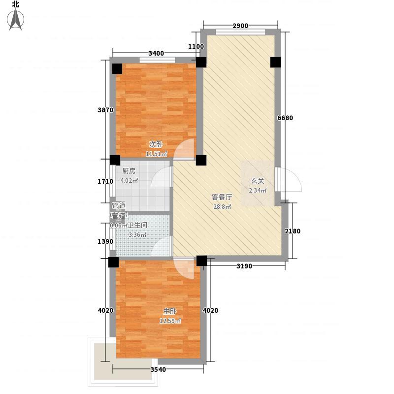 星海苑M2户型2室1厅1卫1厨