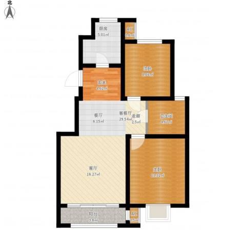 首创康桥郡2室1厅1卫1厨96.00㎡户型图