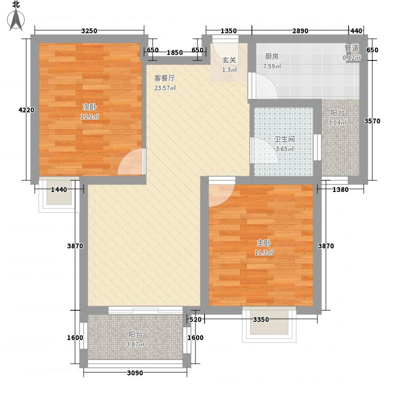 聚丰福邸90.00㎡90平米户型2室2厅1卫1厨