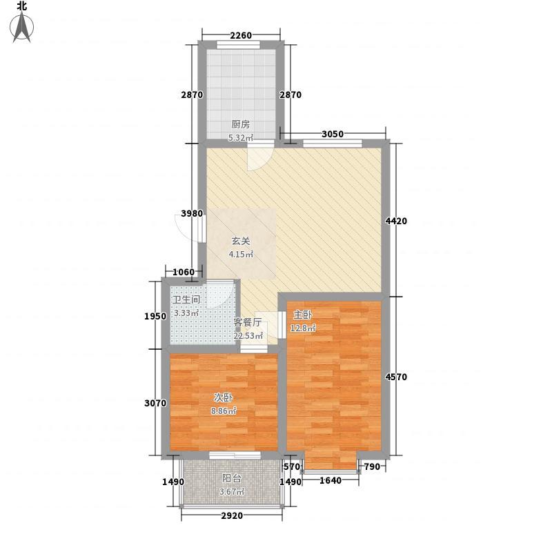 东方佳苑8.10㎡A3户型2室2厅1卫1厨
