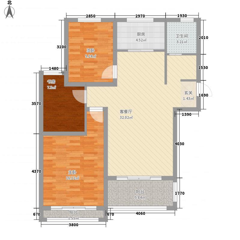 东方帝景城115.00㎡A户型3室2厅1卫