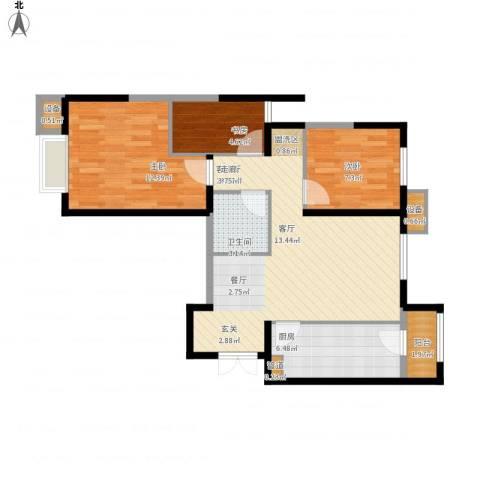 富力城・龙栖谷3室1厅1卫1厨86.00㎡户型图