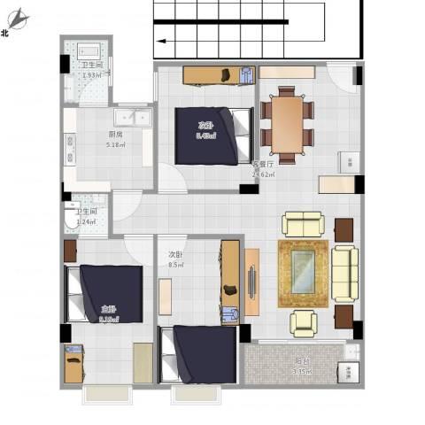 商贸城侧3室1厅2卫1厨86.00㎡户型图