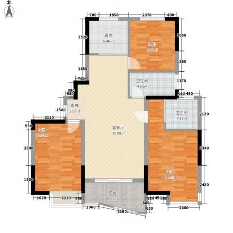 同人・怡和园3室1厅2卫1厨127.00㎡户型图