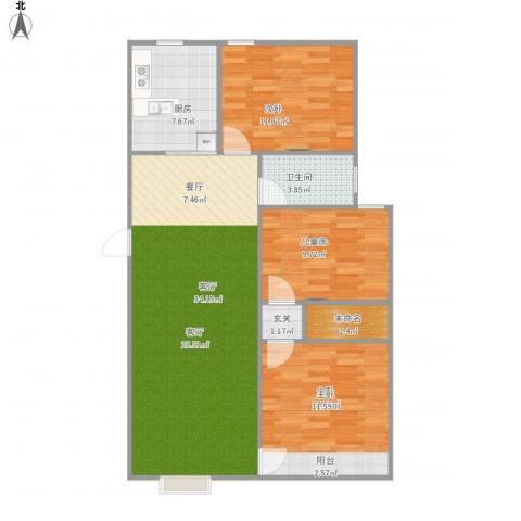 阳光花园3室1厅1卫1厨114.00㎡户型图