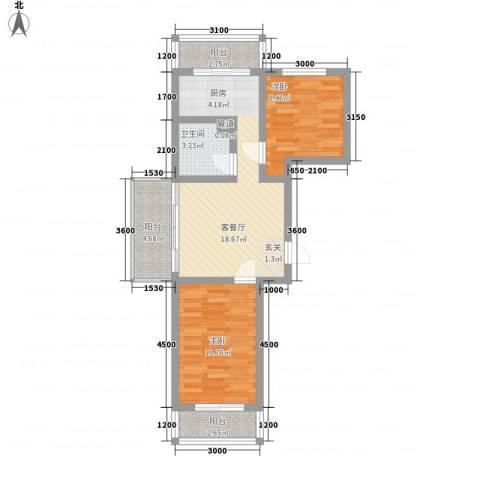民生家园2室1厅1卫0厨78.00㎡户型图